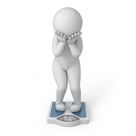 work path: overweight, 3d human and scales  image with a work path Stock Photo
