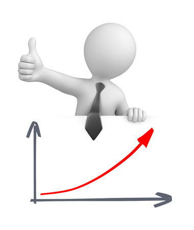 businessman with thumb up and a graph