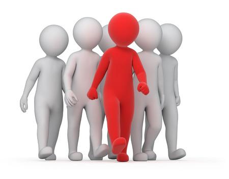 lider: l�der y una multitud, la imagen con un trazado de trabajo