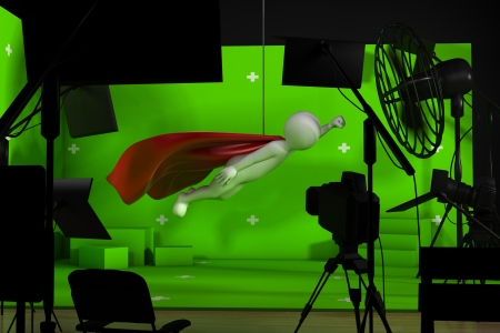 film shooting: shooting in film studio with a green background Stock Photo