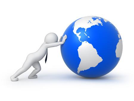 shove: businessman rolls the globe, isolated on white background Stock Photo