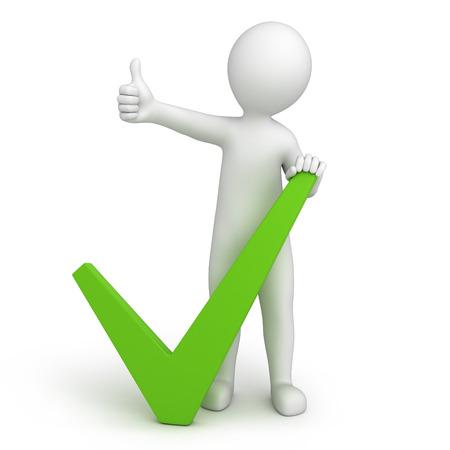 groen vinkje en 3d mens met een duim omhoog 3d beeld met een tijdelijk pad Stockfoto