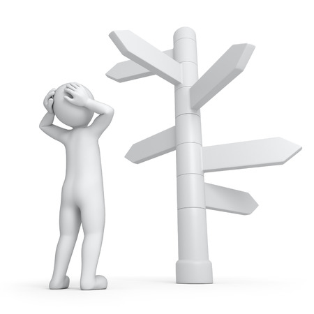 it is too much ways, 3d human and directions signs