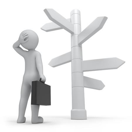 너무 많은 방법으로, 사업가와 방향 표지판 경로를 작동
