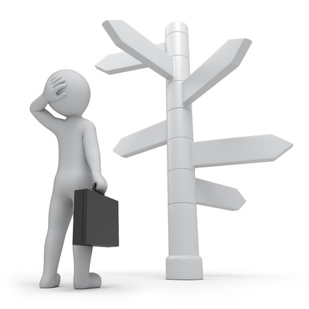it is too much ways, businessman and directions signs  work path