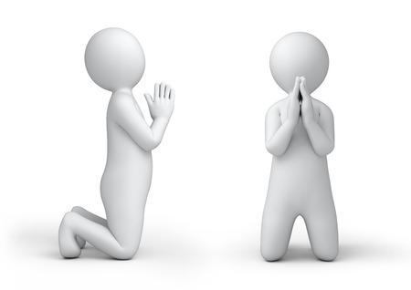 la oración humana 3d, aislado en blanco