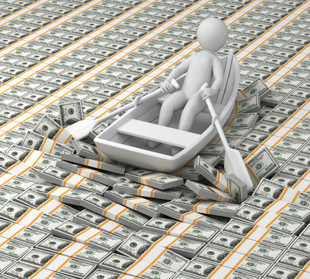 3d mens drijft in de boot op geld