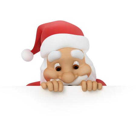 Kerstman kijkt uit papier
