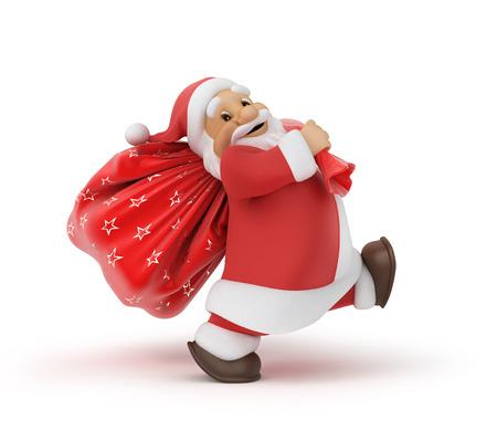 weihnachtsmann lustig: Santa Claus mit einem Sack von Geschenken Lizenzfreie Bilder
