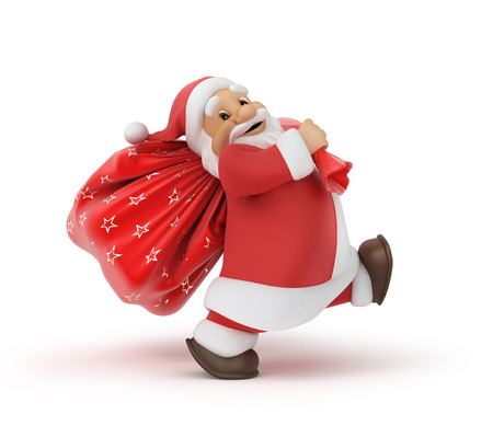 cartoon santa: Santa Claus with a bag of gifts