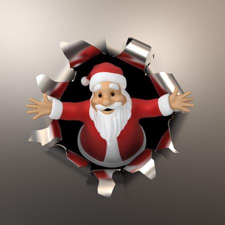 Santa tears the metal photo