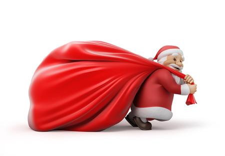 Kerstman met een zware zak van giften