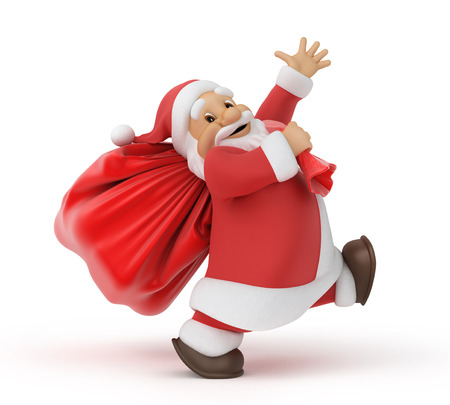 walking path: Santa Claus with a bag of gifts