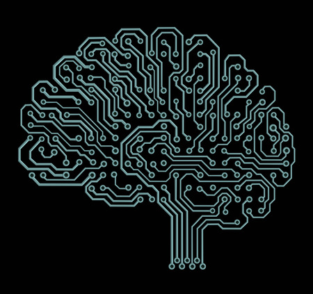 circuitos electronicos: Cerebro electrónico en negro Foto de archivo