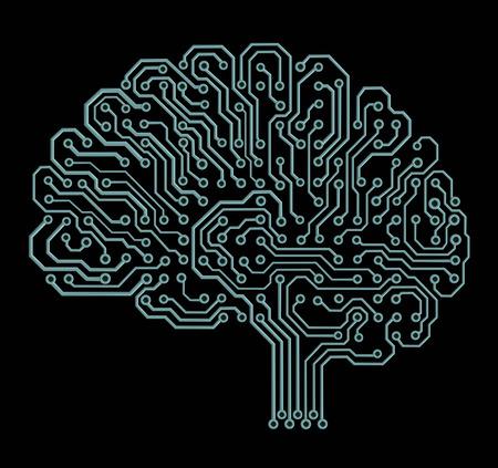 Elektronische hersenen op zwart