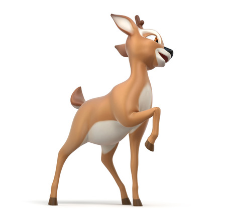 fawn: little cartoon fawn on white background, 3d render Stock Photo