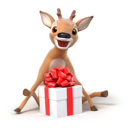 surprized little cartoon deer with a gift, 3d render