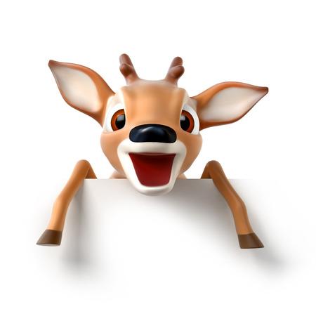 surprized little cartoon deer, 3d render