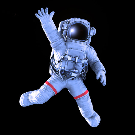 Astronaut waving on a black background, 3d render with a work path