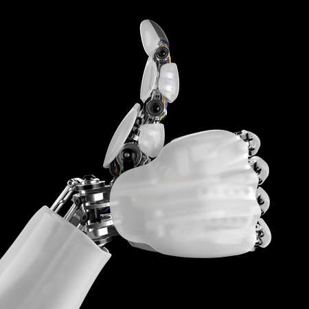 Robotic Hand Giving Thumbs Up on a Black Background. 3d render with a workpath