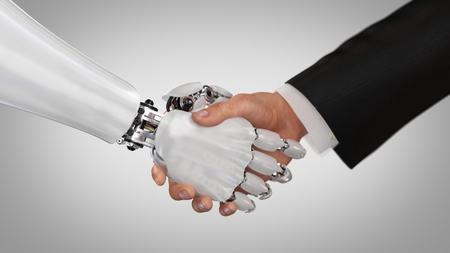 Robot y hombre dándose la mano. Render 3D.