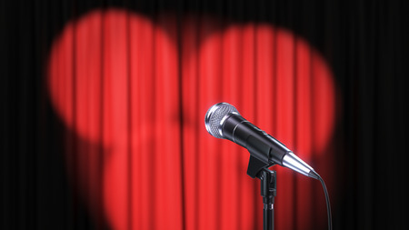 Red Curtain with Spotlights and Microphone, 3d Render Banque d'images - 120706567