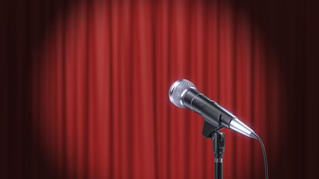 Micrófono y cortinas rojas de fondo, render 3d Foto de archivo