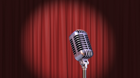 Red Curtain with Spotlight and Vintage Microphone, 3d Render Banque d'images - 120706576
