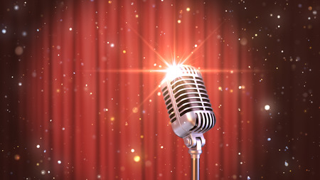Stand Up Background Retro Microphone with the Red Curtains, 3d Render Banque d'images - 120706577