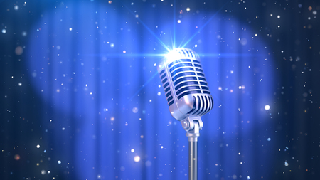 Stand Up Background with a Blue Curtain, Spotlights and Old Fashioned Microphone, 3D Render Imagens
