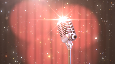 Karaoke Background with a Red Curtain, Spotlights and Retro Microphone, 3d Render Banque d'images - 120706580