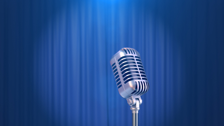 Retro Microphone and a Blue Curtain Background, 3d Render Banque d'images - 120706581