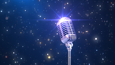 Beautiful Karaoke Background with an Old Fashioned Microphone and Magic Particles, 3d Render