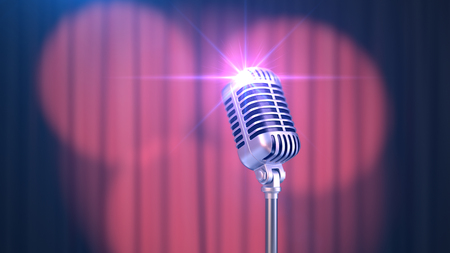 Beautiful Red Curtain with Spotlights and Vintage Microphone, 3d Render Banque d'images - 120706596