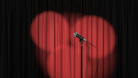 Stand Up Stage, Red Curtain with Spotlights and a Microphone, 3d Render