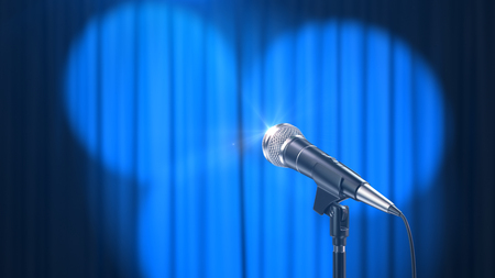 Microphone and a Blue Curtain with Spotlights, 3d Render Banque d'images - 120706592