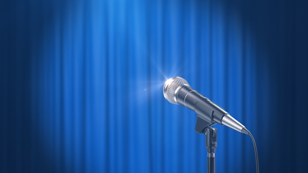 Microphone and a Blue Curtain Background, 3d Render Banque d'images - 120706593