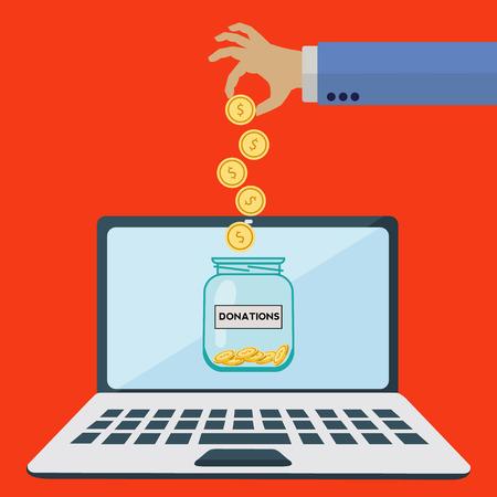 Online donations jar vector concept Illustration