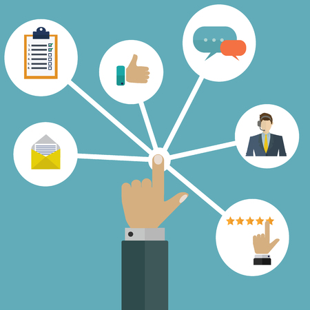 interactions: Customeruser interactions management system vector concept