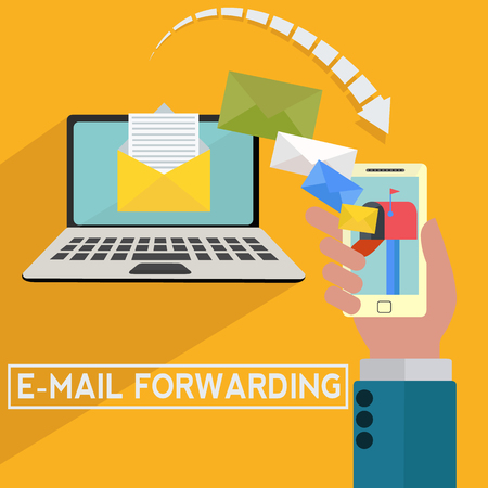 Email forwarding to mobile vector concept