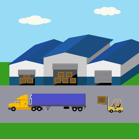 Warehouse building, goods storage, forklift loading truck illustration