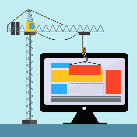 creation of sites: Web design with crane lifting building blocks on PC concept