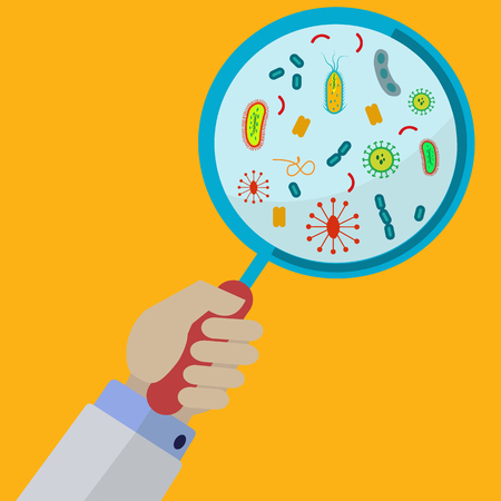 cholera: Hand holding magnifying glass showing viruses and bacteria illustration