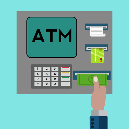 reciept: ATM machine with hand withdrawing money vector concept Illustration