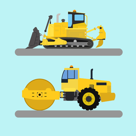 leveling: Industrial machinery, bulldozer and road roller vector illustration