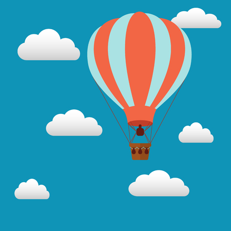 baloon: Hot air baloon in the sky vector illustration