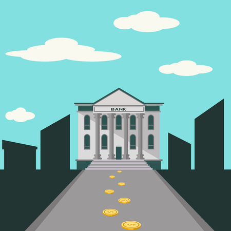 leading: Bank building with coins on the road leading to it vector concept