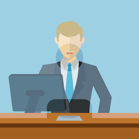 Man working as bank clerk, bank teller workplace vector illustration