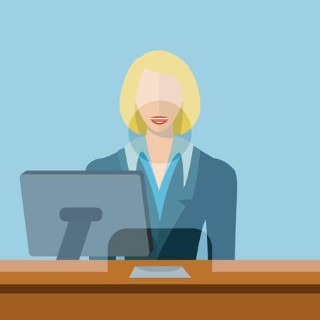 Female bank teller, clerk vector illustration Vetores