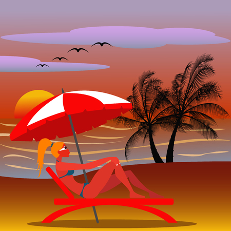sexy umbrella: Girl in a beach chair with sunglasses in an exotic destination at sunset vector illustration
